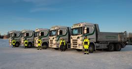 Fem nye biler på oppdrag for Franzefoss Pukk AS i Trøndelag